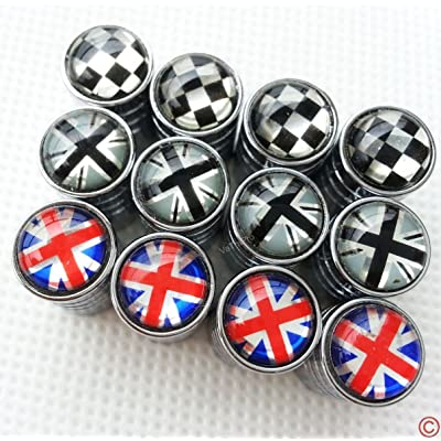 Zorratin Chrome Rim Wheel Valve Stem Cap Cover Screw with Black Jack Button for Mini Cooper r50 r53 r56 r56n f55 f56 r55 r52 r57 r58 r59 r60 r61 jcw: Automotive