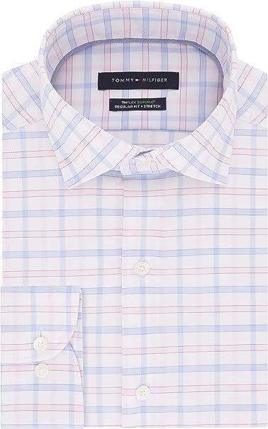 Spread Collar 100/% Cotton Tommy Hilfiger Shirt Solid Blue Standard Cuff