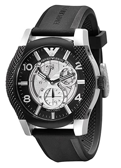 Emporio Armani Meccanico AR4630 - Reloj analógico automático para hombre, correa de goma color negro: Emporio Armani: Amazon.es: Relojes