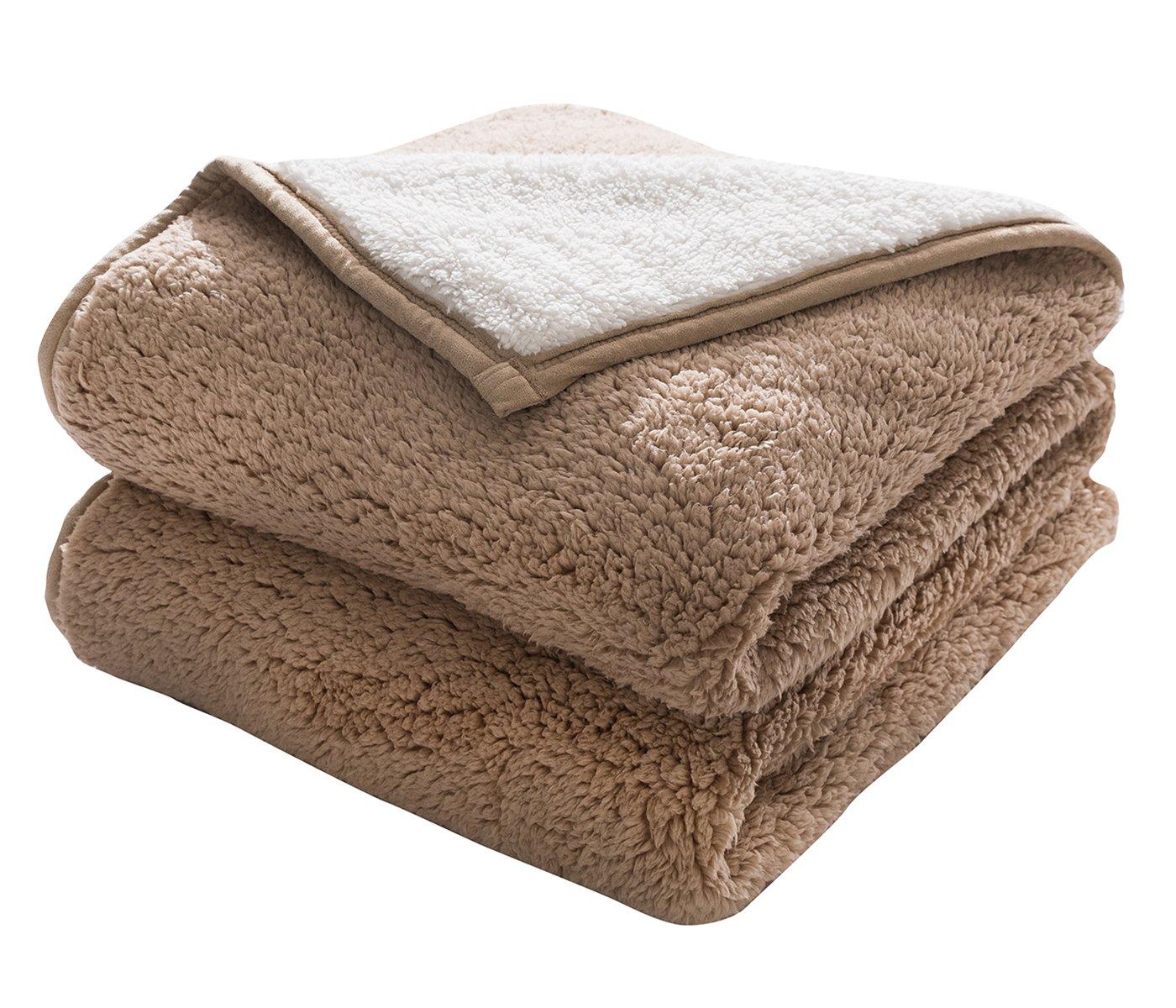 HONEYMOON HOME FASHIONS Classic Sherpa Cozy and Warm 50'' x 70'' Khaki Throw Blanket