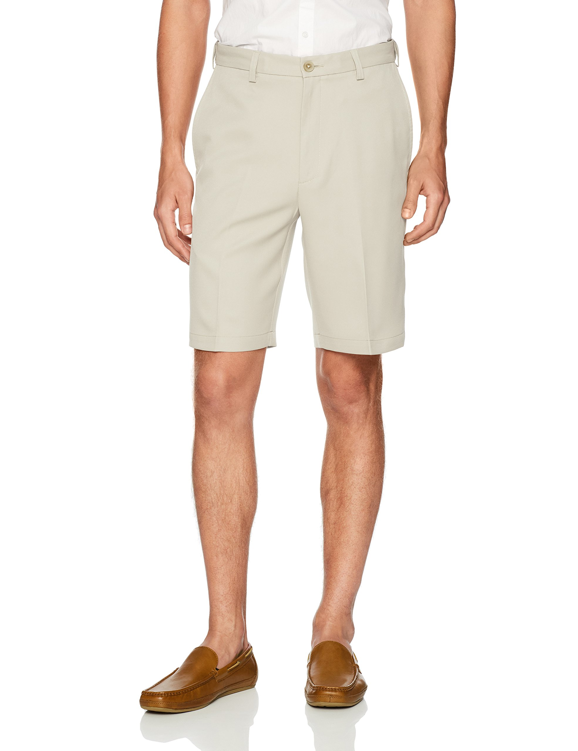 Haggar Men's Cool 18 Pro Straight Fit Stretch Solid Flat Front Short, String, 34 by Haggar