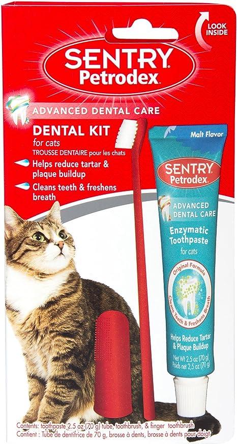 SENTRY petrodex Dental Kit para Gatos, Malta Pasta de Dientes, 2,5 ...
