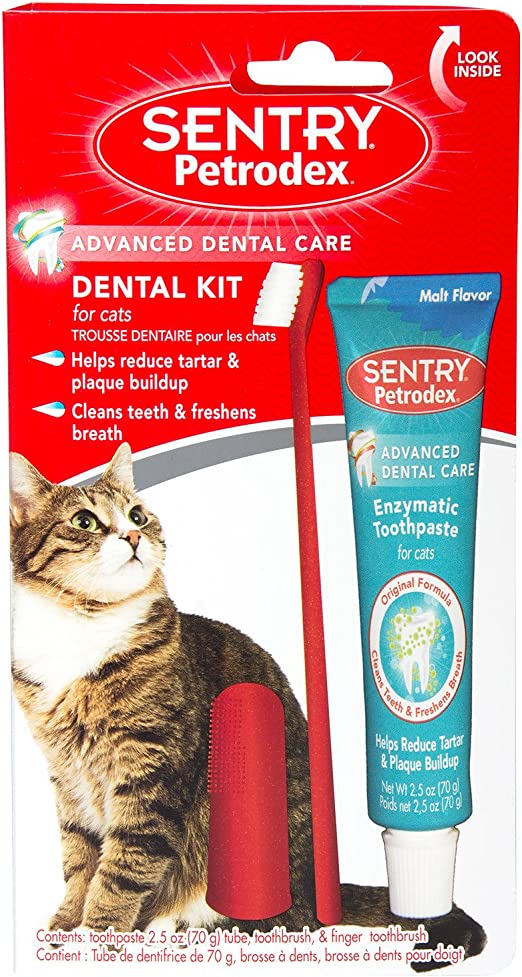 SENTRY petrodex Dental Kit para Gatos, Malta Pasta de Dientes, 2,5 ...
