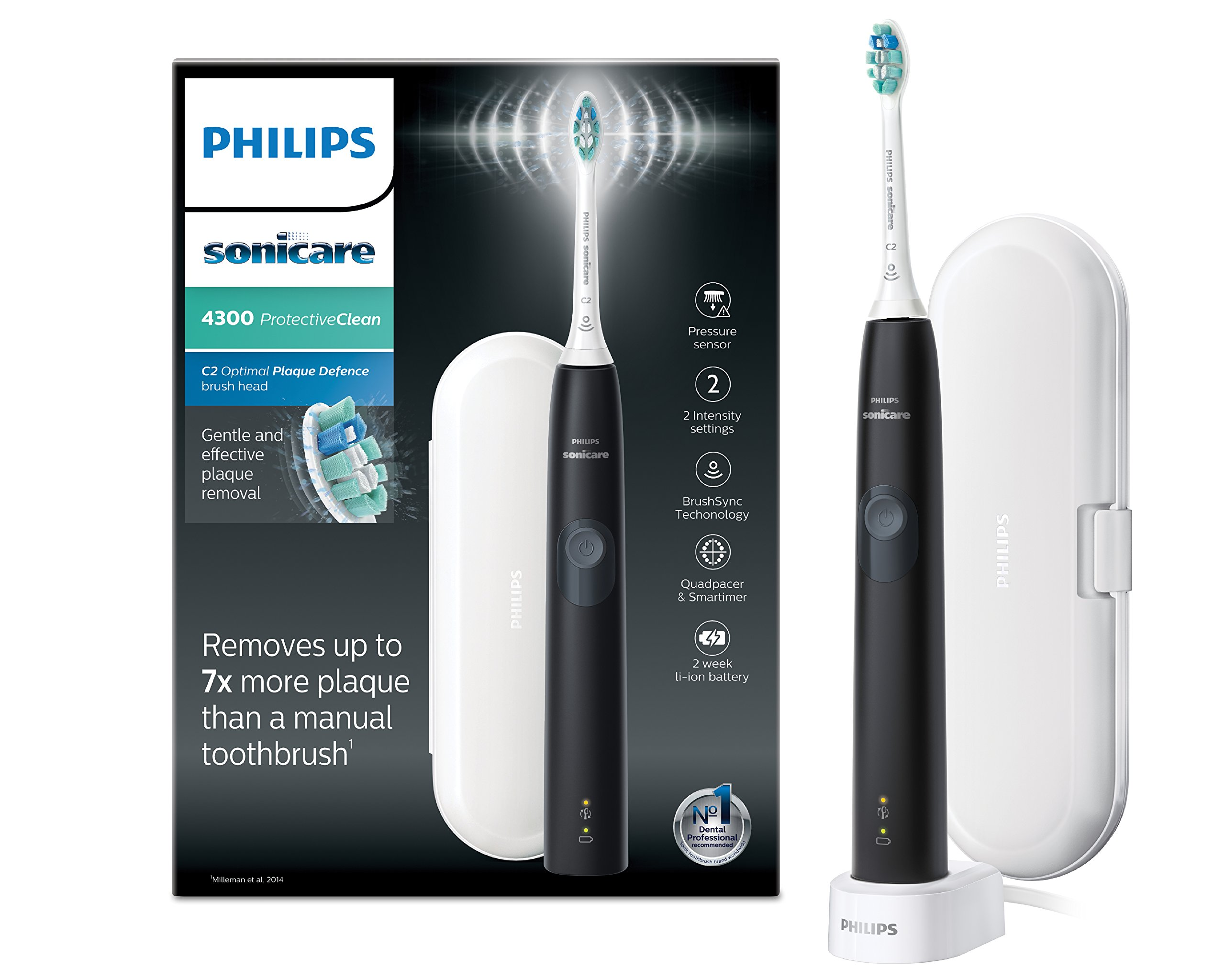 Philips Sonicare ProtectiveClean Model 4300 Electric Toothbrush, Black