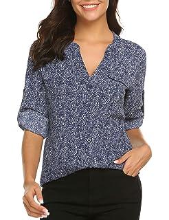 17e7dacbd97 BEAUTEINE Women Button-Down Chiffon Shirts Floral Printed Henley V Neck  Blouses Cuffed Sleeve Tunic
