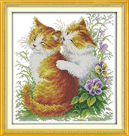 Chreey - Kit de Punto de Cruz | Gato y Caracol | 37 x 37cm ...