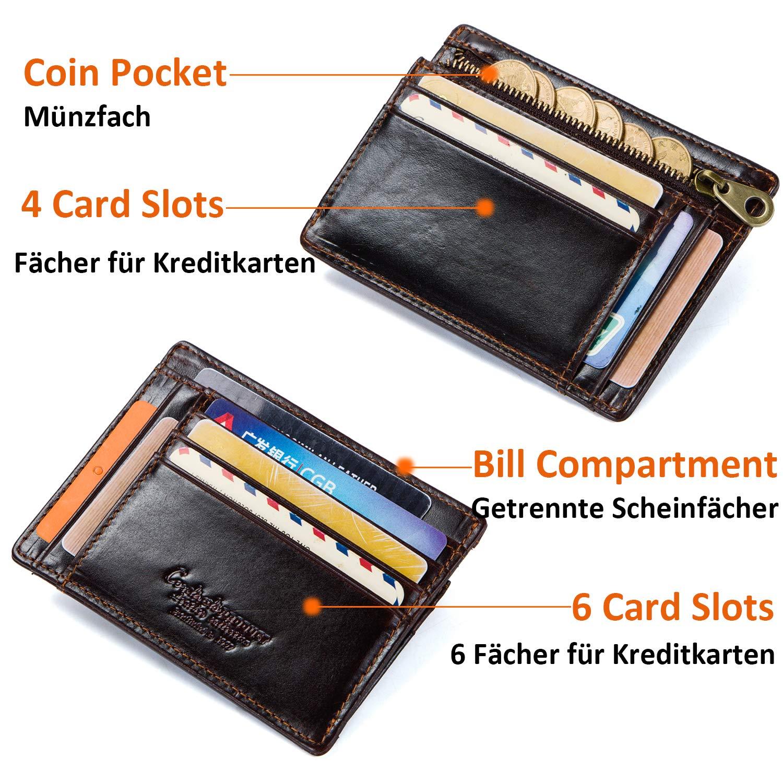 HASAGEI RFID Mini Geldbeutel Herren Geldb/örse Leder Kreditkartenetui mit Banknoten und M/ünzfach 10 Karten Slim Wallet Leder Portemonnaie Portmonaise Brieftasche Portmonee Braun