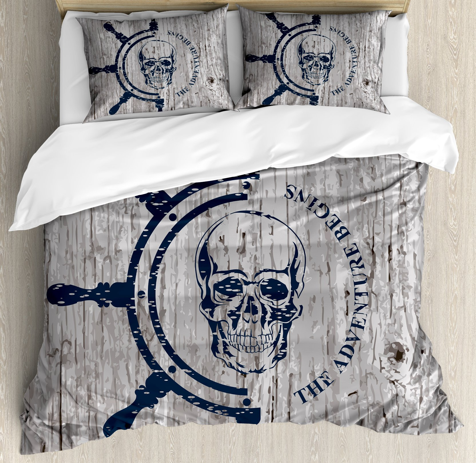 Nautical Duvet Cover Set King Size by Lunarable, Marine Theme Digital Image Skull Helm Ocean Inspired Image Vintage Pattern, Decorative 3 Piece Bedding Set with 2 Pillow Shams, Dark Blue Grey