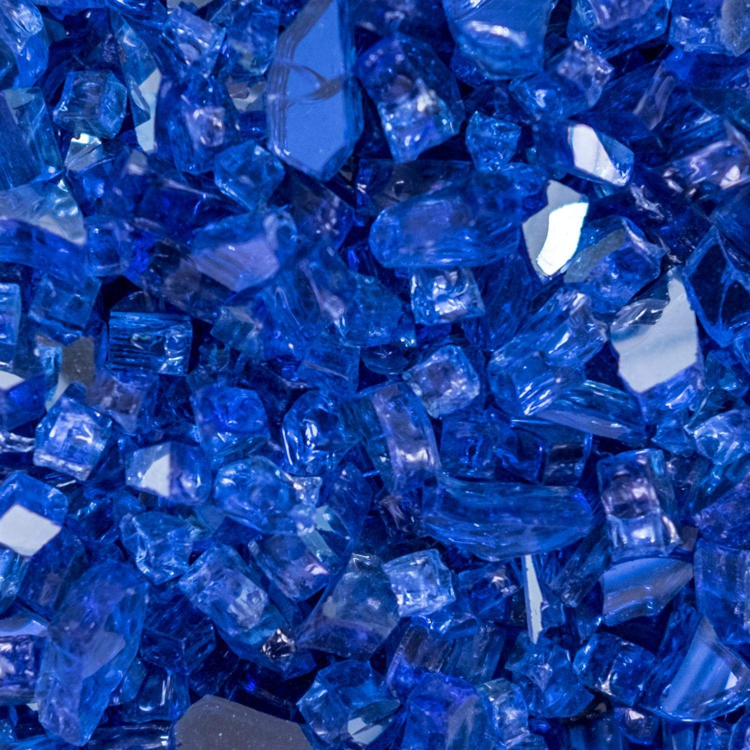 Lakeview Outdoor Designs 1/4-Inch Blue-Jay Reflective Fire Glass - 80 Pounds