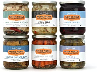product image for Specialty Variety Pickles Gift Pack (6-pack) - variety of pickled Brussels sprouts, pickled carrots, pickled beets, pickled fennel, pickled okra and pickled cauliflower
