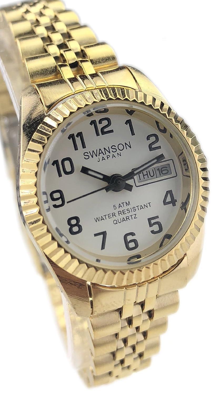 Amazon.com: Reloj de Mujer Swanson Japan Women Watch Dorado con Numeros Fecha,Dia Resistente al Agua Nuevo: Watches