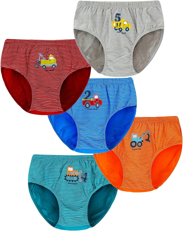 Allmeingeld Boys Dinosaur Boxer Briefs Cotton Shorts Assorted Underwear 6-Pack Trunk for 2-10 Years
