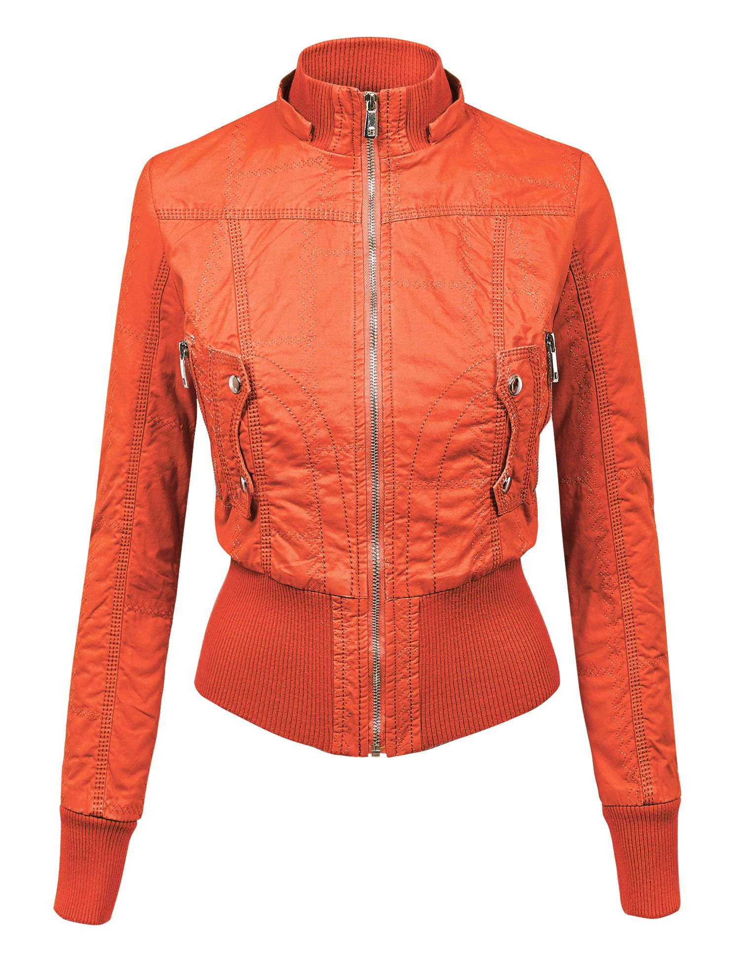 WJC1004 Womens Casual Inner Fleece Bomber Jacket with Removable Hoodie L CORAL by Lock and Love (Image #4)