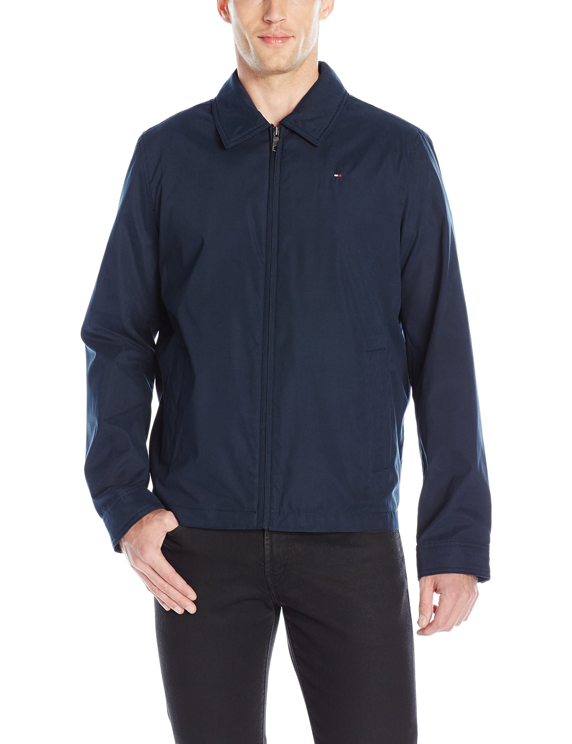 Tommy Hilfiger Men's Lightweight Microtwill Golf Jacket, Navy, XXL