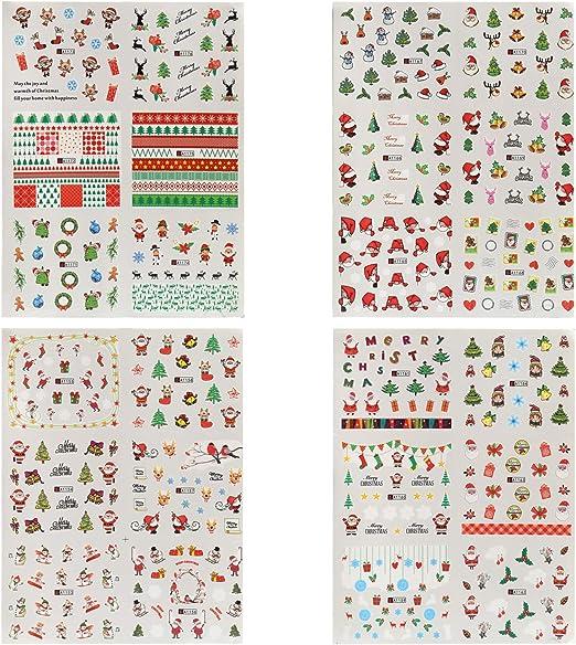 Naler 24 Hojas Pequeñas Pegatinas Uñas Navidad Etiquetas Uñas Decorativas al Agua Etiquetas Engomadas del Clavo de Navidad para DIY Diseño de Uñas: Amazon.es: Hogar