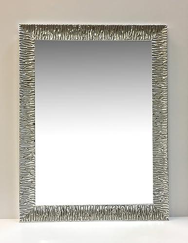 Specchi Moderni Con Cornice.Specchio Moderno Con Cornice In Legno Zebrata Argento Cm71x91