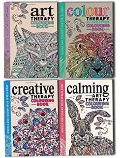 Art Colour Creative And Calming An Anti Stress Therapy Adult Colouring 4 Books Collection Set