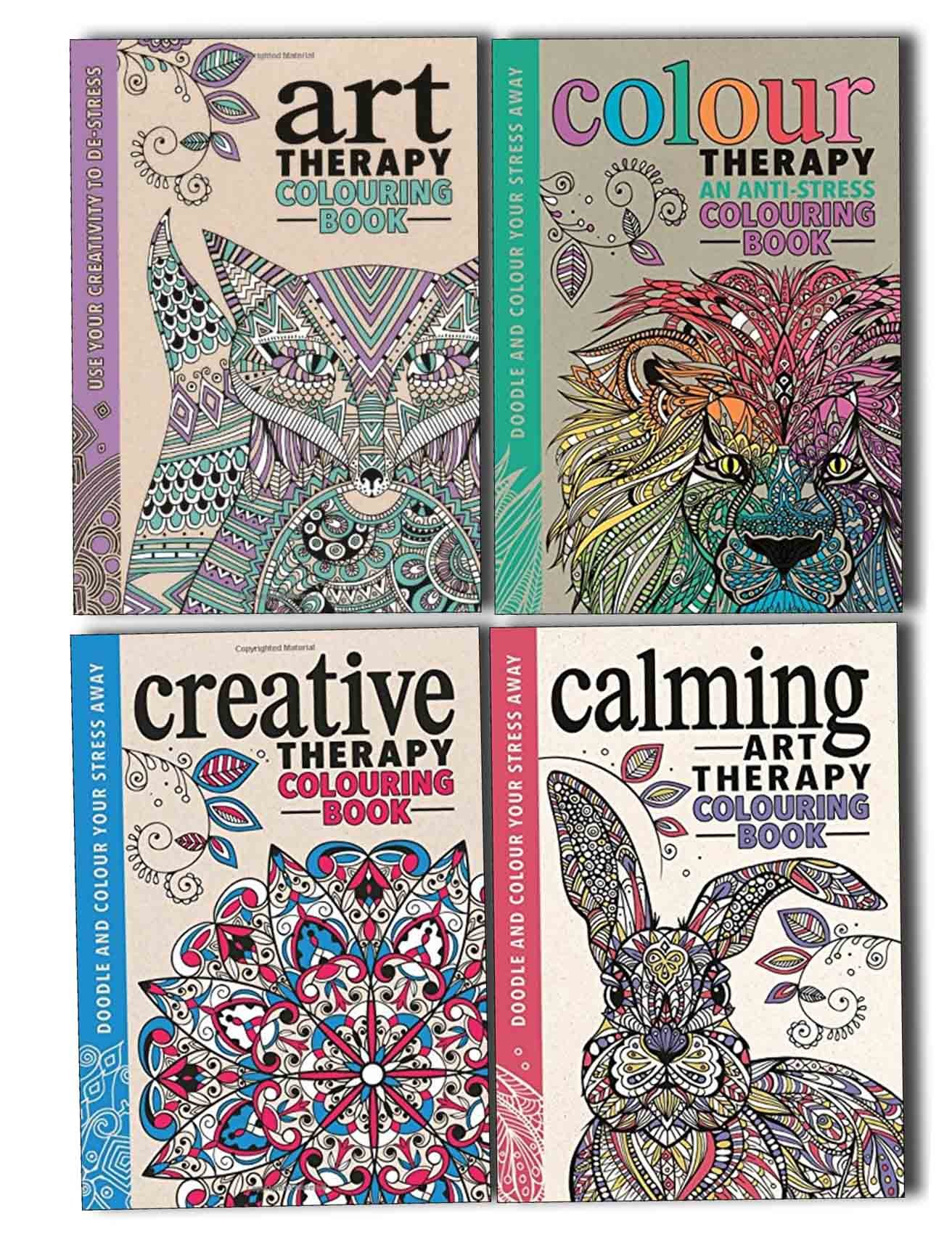 Art Colour Creative And Calming An Anti Stress Therapy Adult Colouring 4 Books Collection Set Doodle Yours Away Hannah Davies