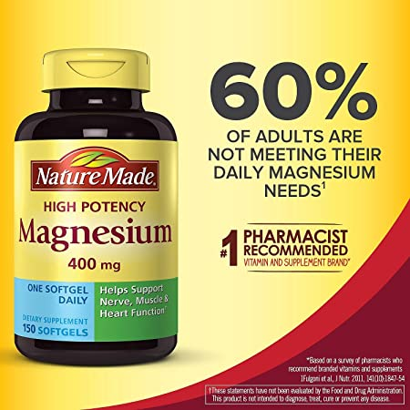 Nature Made High Potency Magnesium 400 Mg, 1 Pack, 150 Count