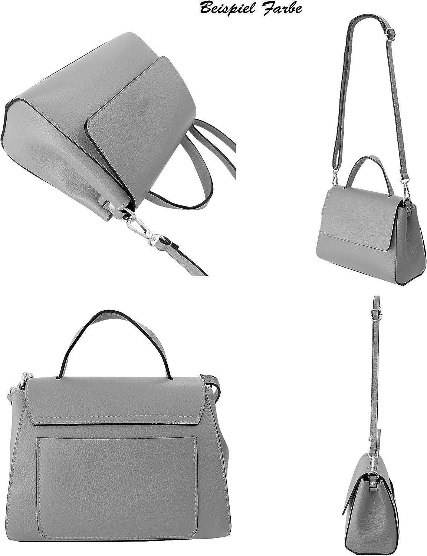 SH Leder Damen Handtasche kleine Tasche Tragetasche Henkeltasche aus Genarbt Rindleder 23,50x17cm Hanna G2619 Hell Grau