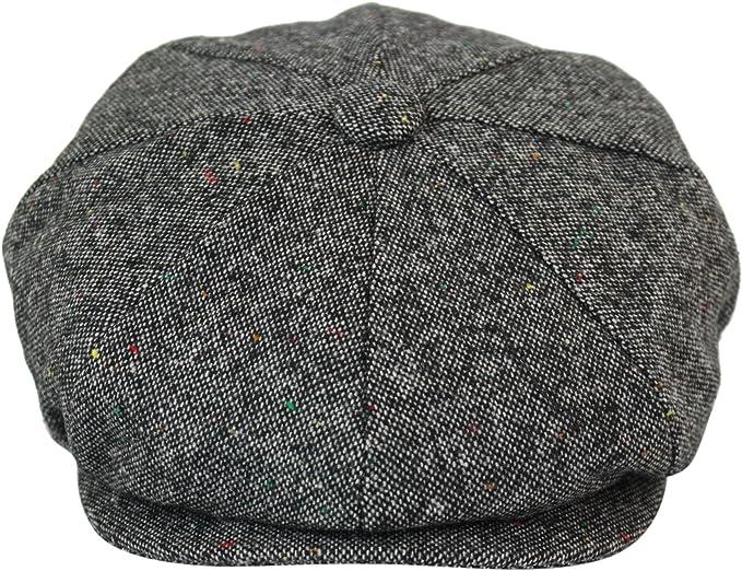 GREY TWEED HERRINGBONE GATSBY MENS 8 PANEL BAKER NEWSBOY CAP PEAKY BLINDERS HAT