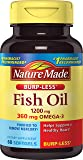 Nature Made Burp-Less Fish Oil Omega-3 Softgels, 1200 mg, 60 Count