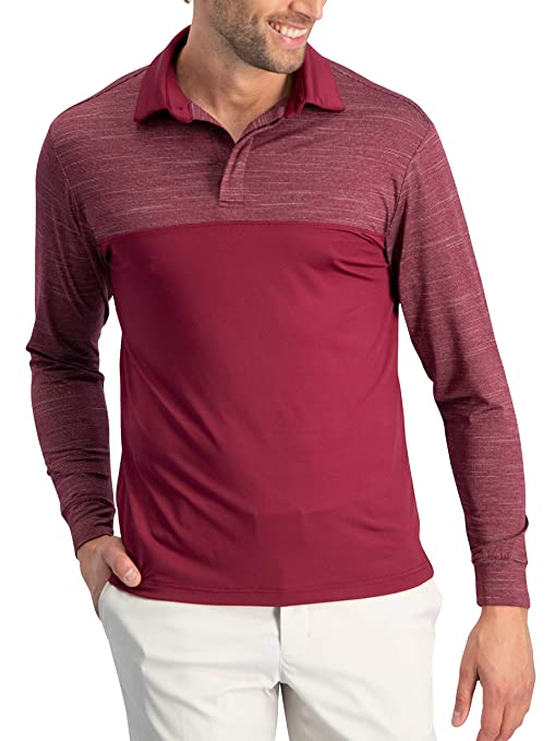 44fa53a482b9 Jolt Gear Long Sleeve Polo Shirts for Men - Men's Long Sleeve Golf Polos -  Dry