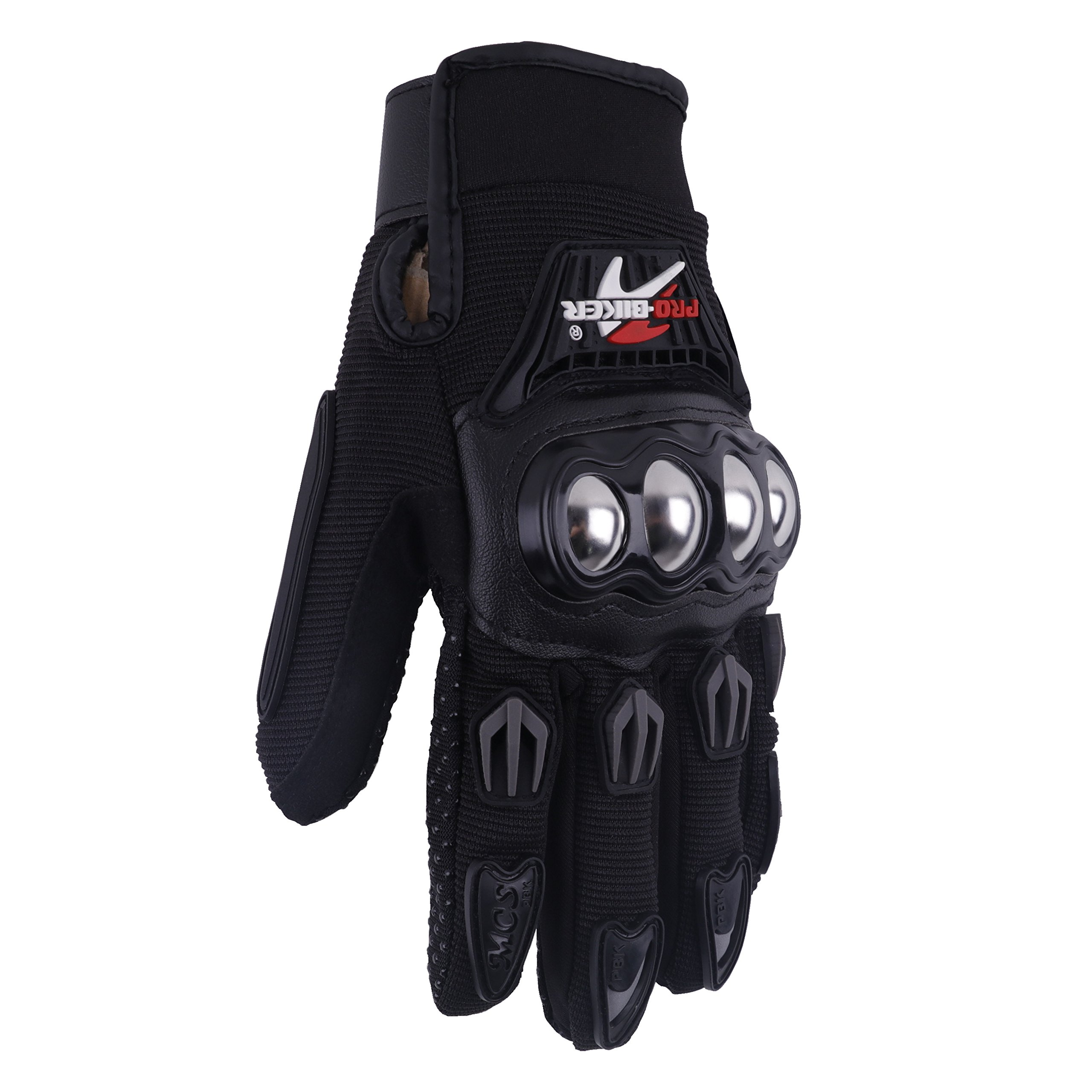 Jackey Awesome Pair of Three Colors Optional Pro-Biker Bicycle Motorcycle Motorbike Powersports Racing Gloves (M, Alloy Steel Knuckle,Black)