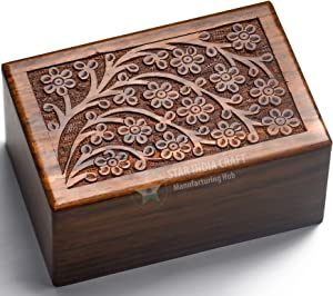 STAR INDIA CRAFT Beautifully Handmade Tree of Life Engraved Wooden Cremation Urns for Ashes Adult Dark Brown Wooden Keepsake Funeral Urns, Memorial Urns for Pets Ashes (Small - 6 x 4 x 2.75)
