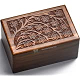 STAR INDIA CRAFT Beautifully Handmade Tree of Life Engraved Wooden Cremation Urns for Human Ashes Adult Dark Brown Indian Ros