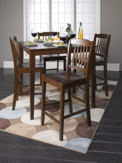 Roundhill Furniture 5 Piece Cappuccino Finish Wood Counter Height Dining Set,  1 Table W/