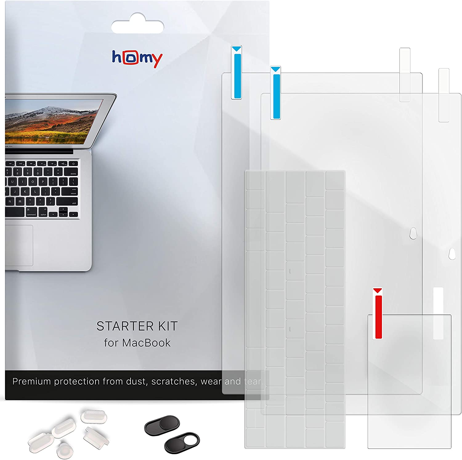 Homy Accessories for MacBook 12 inch Protection: 1x Matte & 1x Glare Screen Protector, Keyboard Cover Ultra-Thin TPU, 2X Web Camera Cover Slide, 5X Dust Plug, Trackpad Cover for A1534 Retina.