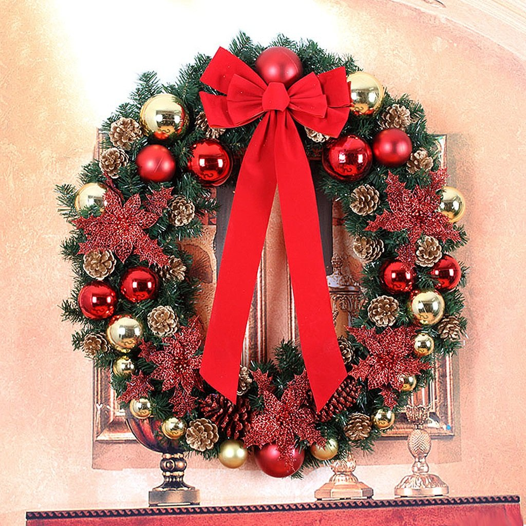 Christmas Rattan Wreath Door decoration Hotel Christmas Ornament ( Size : 85cm )