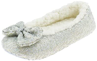 c2684d029 Capelli New York Girls Sequined Ballet Indoor Slippers with Bow Detail  Multi 10 11