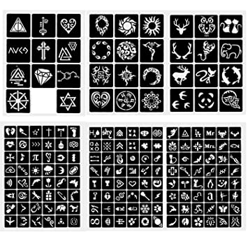 Amazon Com 6 Sheets Crafts Adhesive Stencils Template For Henna