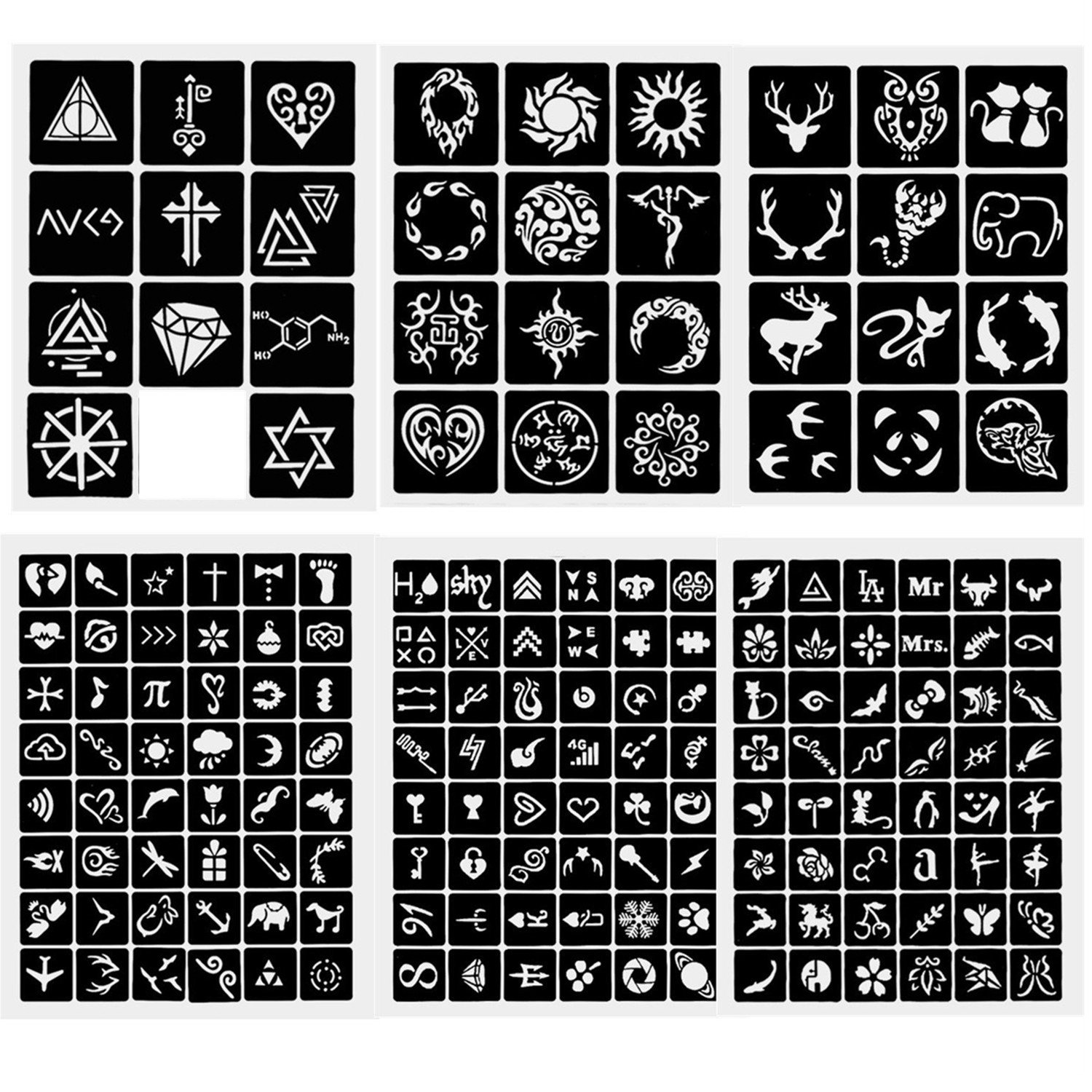 6 Sheets Crafts Adhesive Stencils Template for Henna Tattoo Body Art Painting Glitter Tattoos (style 1)
