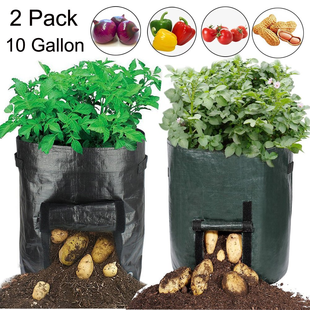19.7 Inch Garden Planter Bag,10 Gallon Vegetables Grow Bags with Access Flap and Handles for Harvesting Potato,Carrot & Onion