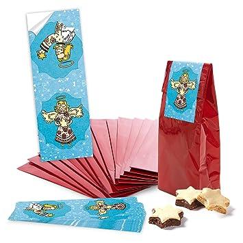10 bolsas de papel rojos pequeños con base para galletas, galletas, bombones (7