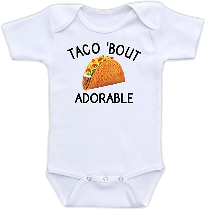 ad79f949a Amazon.com: DoozyDesigns Taco 'Bout Adorable - Funny Baby Clothes, Baby Boy  or Girl Bodysuit, Gender Neutral Unisex Baby Gift: Clothing