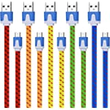 Extra Long Micro Charging Charger, Magic-T [5-Pack] 10ft Fast Speed Flat Cord for Android, Samsung Galaxy S7 S6 Edge, HTC M9, PS4 and More