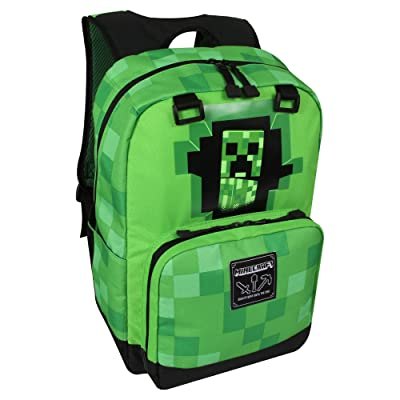 "JINX Minecraft Creepy Creeper Kids School Backpack, Green, 17"": Toys & Games"
