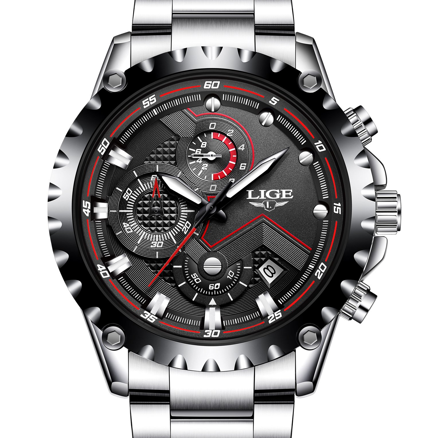 Mens Sport Fashion Chronograph Analog Quartz Wrist Watches Date Stainless Steel Band,Silver Black by Affute