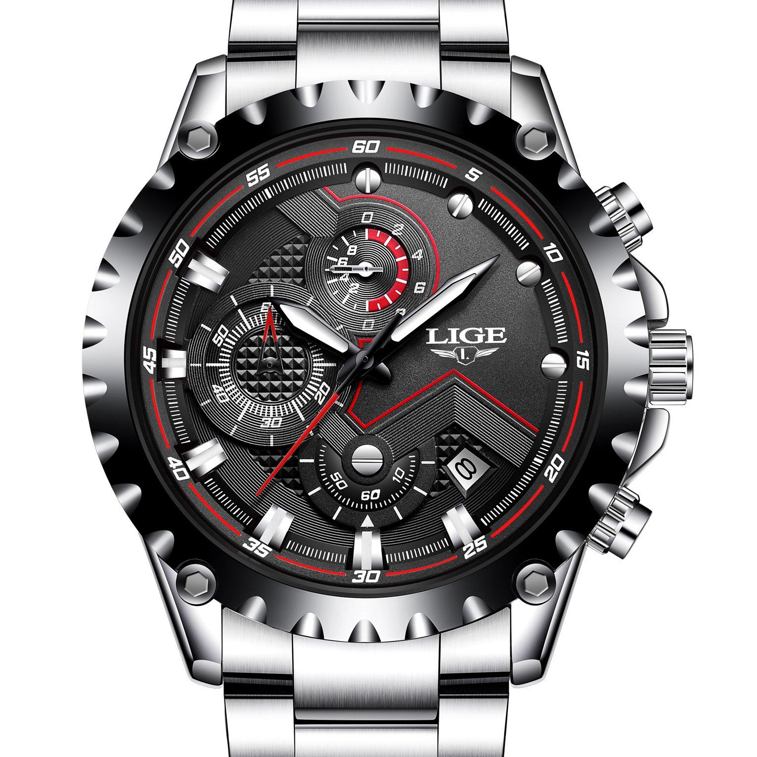 Mens Sport Fashion Chronograph Analog Quartz Wrist Watches Date Stainless Steel Band,Silver Black