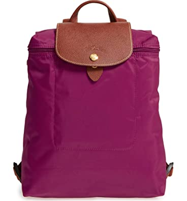 Image Unavailable. Image not available for. Color  Longchamp  Le Pliage   Nylon and Leather Backpack, Dahlia b1e99bb0e0