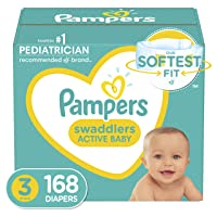 Diapers Size 3, 168 Count - Pampers Swaddlers Disposable Baby Diapers, ONE MONTH SUPPLY (Packaging May Vary)