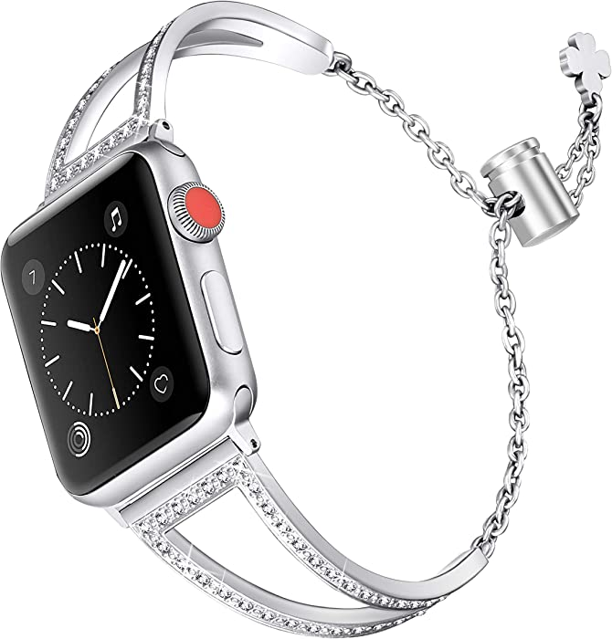 Secbolt Bling Bands Compatible with Apple Watch Band 42mm 44mm iWatch SE Series 6/5/4/3/2/1, Women Dressy Metal Jewelry Bracelet Stainless Steel, Silver