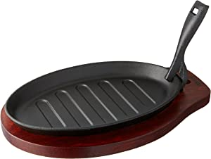 Winco ISP-3 Cast Iron Steak Platter with Wood Underline and Gripper