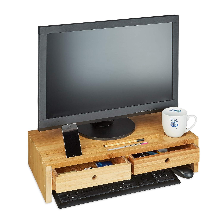 Relaxdays 竹製PCモニタースタンド スクリーンライザー 引き出し2つとコンパートメント付き コンピューターワークステーション HWD 14×60×30cm ナチュラル B07KGCV9ZN