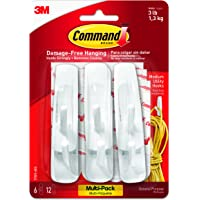 Command 17001-VP-6PK Medium Hooks Value Pack - White