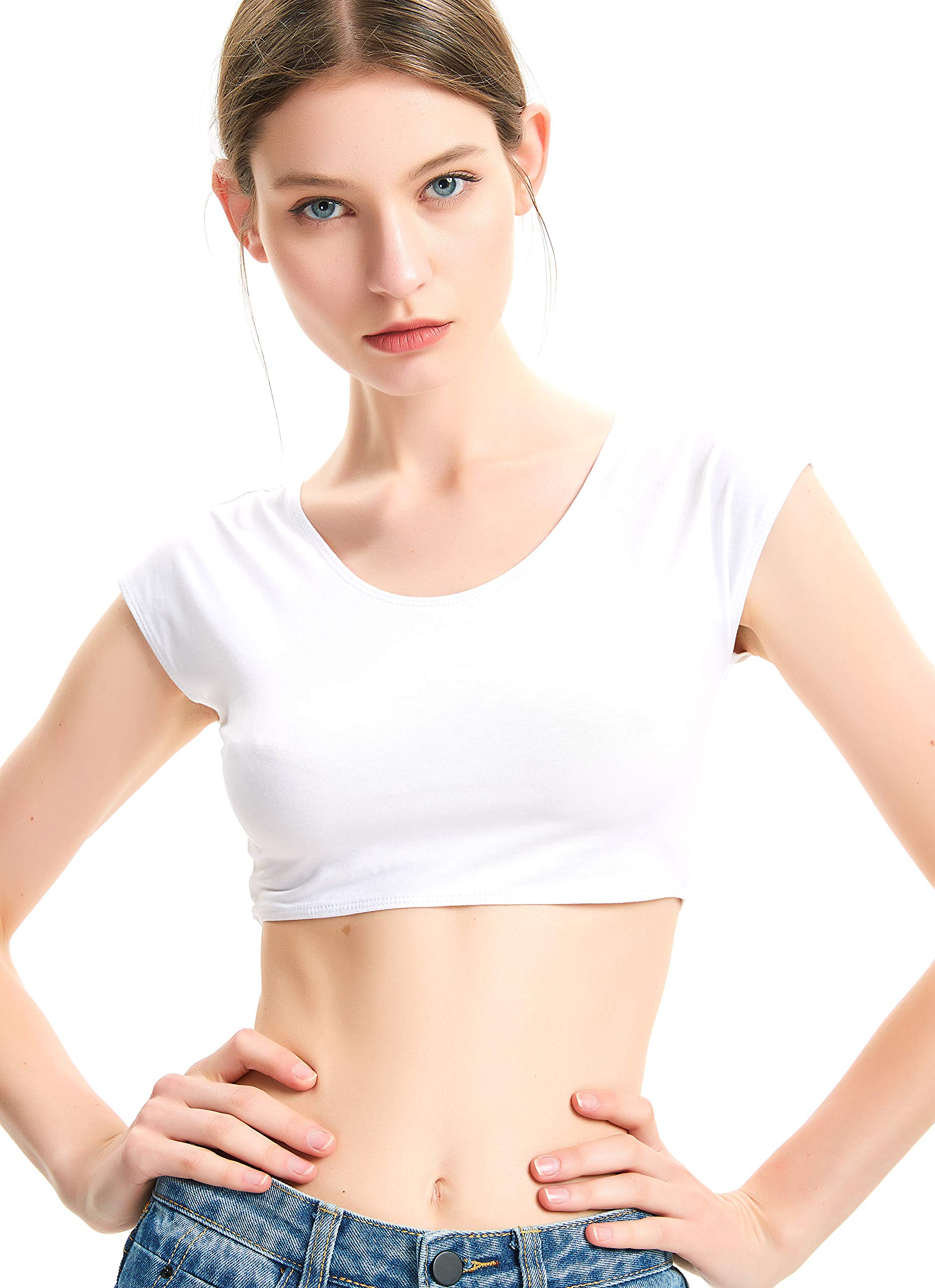 8e26a174f81 zhAjh Womens Cotton Spandex Basic Cap Sleeve Slim Fit Scoopneck Crop Top  (White, Large)